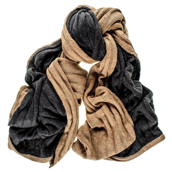 Double Sided Black and Camel Reversible Merino Wool Scarf