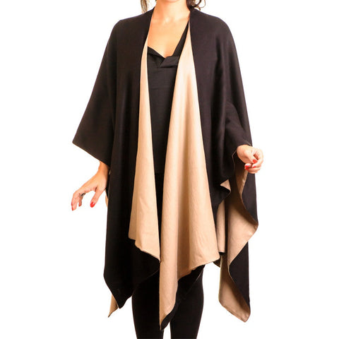 Camel and Black Double-Sided Cape - Cashmere and Silk