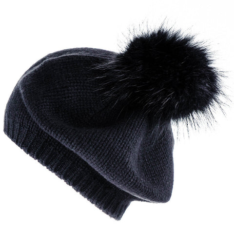 Black Cashmere and Fur Pom Pom Beret