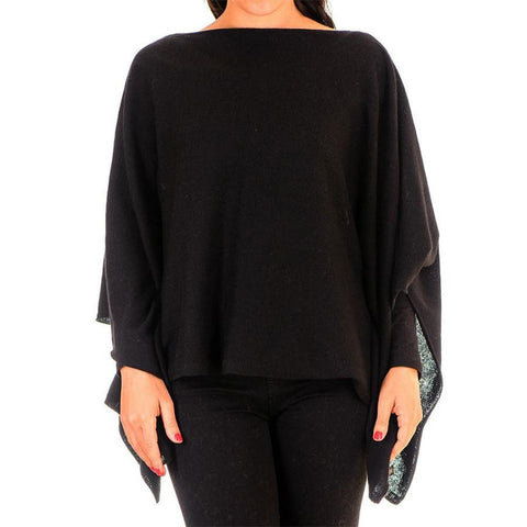 Black Batwing Cashmere Poncho