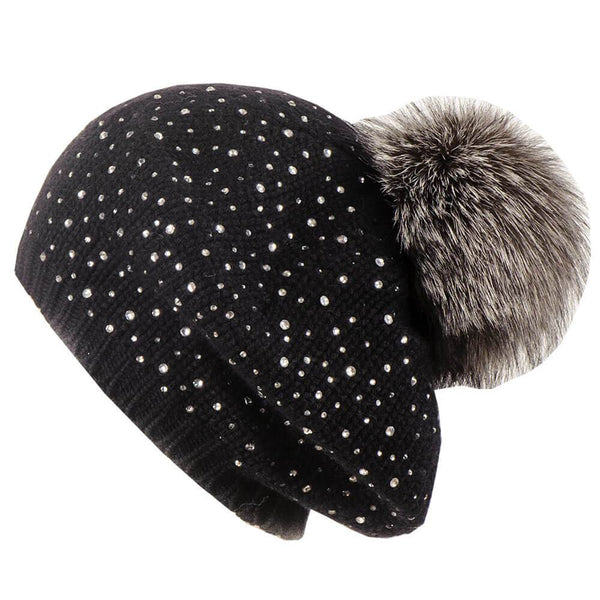 Sparkling Black Cashmere Beret with Fur Pom Pom