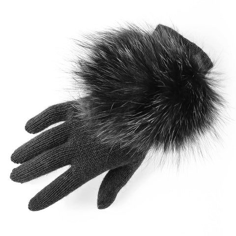 Black Cashmere and Fox Fur Gloves
