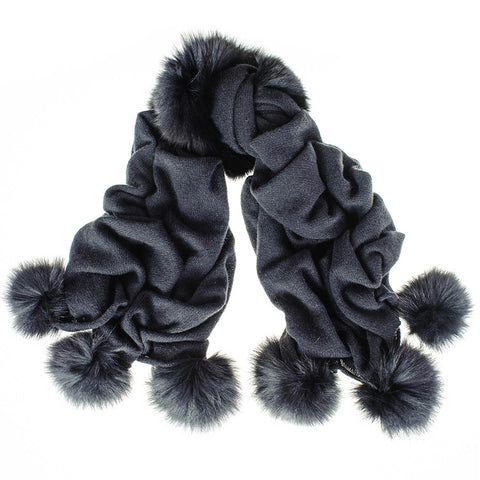 Black Cashmere and Fox Fur Pom Pom Shawl