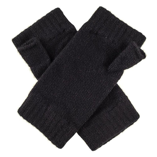 Ladies Black Fingerless Cashmere Mittens