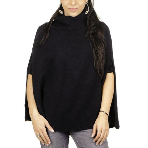 Black Roll Neck Knit Cashmere Poncho