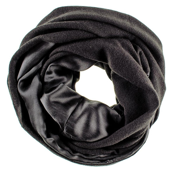 Double Size Black Cashmere and Black Satin Snood