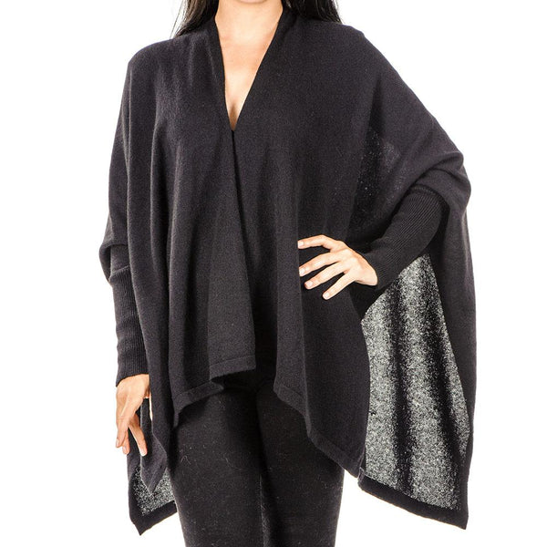 Black Cashmere Sleeved Cape