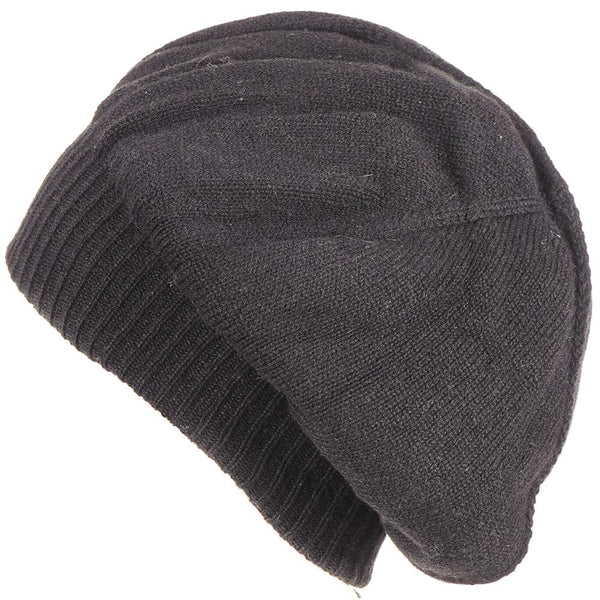 Black Double Layer Cashmere Slouch Beret