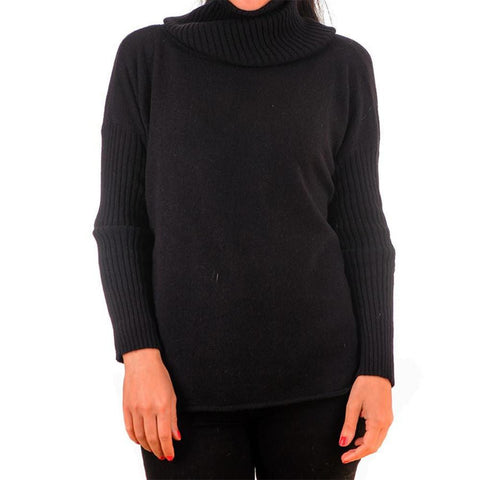 Black Cashmere Sleeved Poncho Sweater with Snood