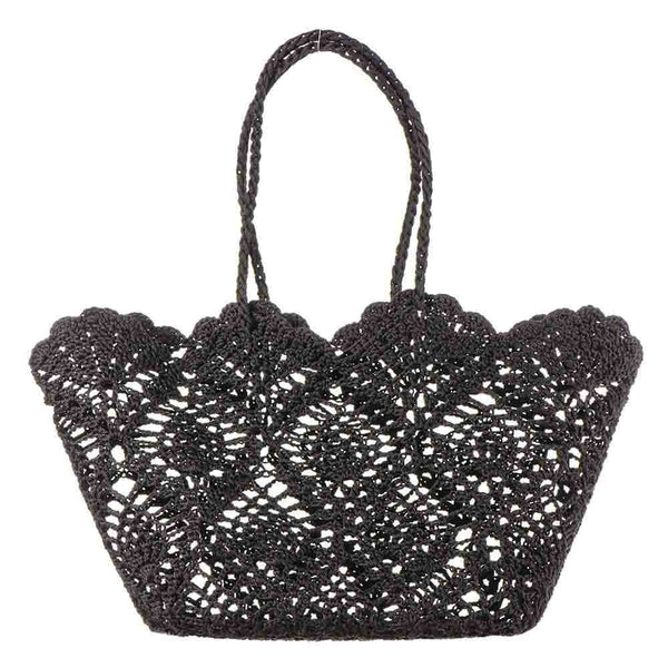 Black Cotton Crochet Tote Bag