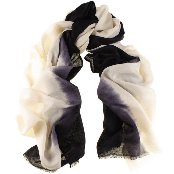 Black to Ivory Cashmere and Silk Wrap