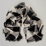 Black and Ivory Check Cashmere Ring Shawl