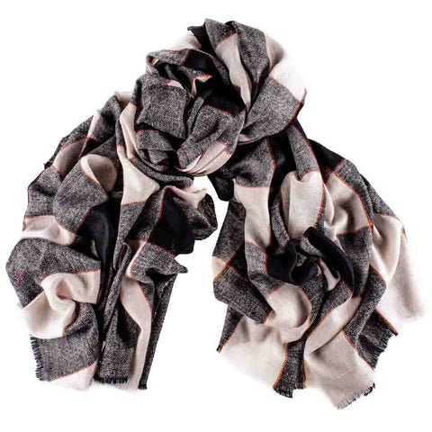 Black and Vanilla Madras Check Cashmere Shawl