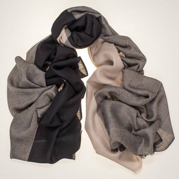 Haydon Black and Natural Silk and Wool Scarf