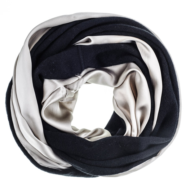 Double Size Champagne Silk and Black Cashmere Snood