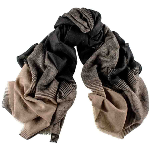 Black and Praline Cashmere Ring Shawl