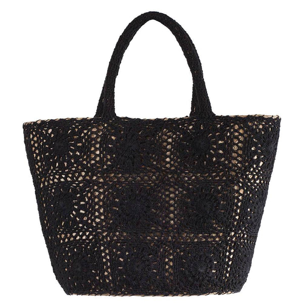 Black Crochet and Straw Beach Bag