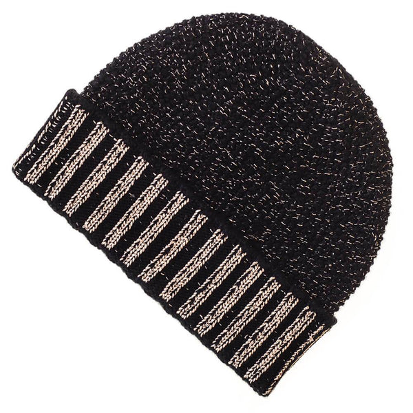 Black and Gold Cashmere Beanie Hat