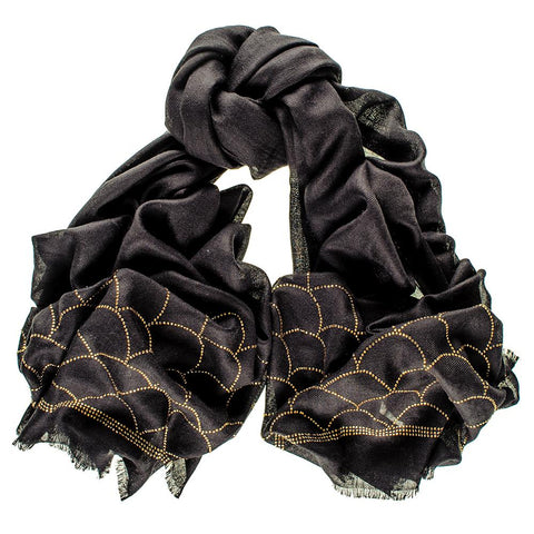 Art Deco Crystal Black Cashmere and Silk Wrap