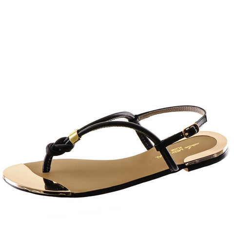 Black Leather T Bar Sandals