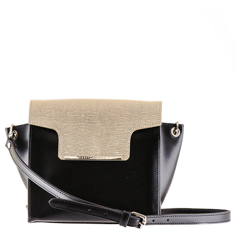 Black and Gold Calf Leather Shoulder Bag