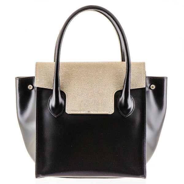Black and Gold Calf Leather Tote
