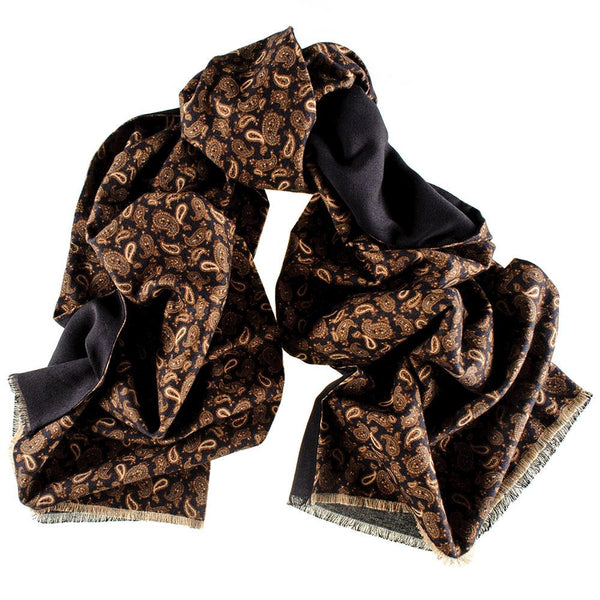 Patria Italian Wool and Cotton Paisley Scarf