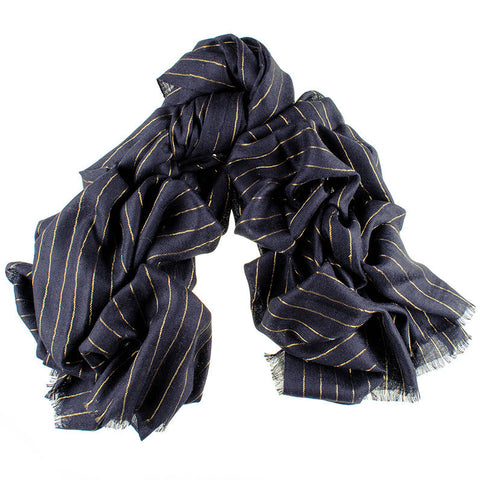 Black Cashmere Ring Shawl with Gold Stripe
