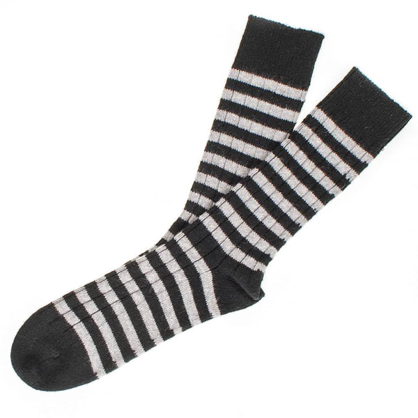 Men's Black and Grey Striped Cashmere Socks
