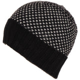 Black and Grey Cashmere Beanie Hat