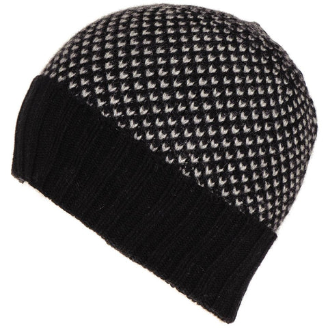 274c39a88850f Black and Grey Cashmere Beanie Hat