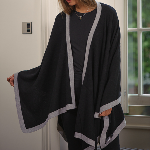 Black and Grey Cashmere Cape