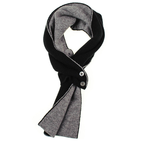 Black and Grey Cashmere Cravat Scarf