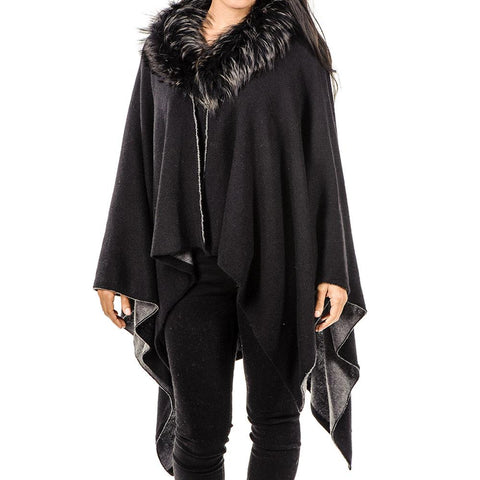 Grey Cashmere Double Faced Cape with Fur Collar