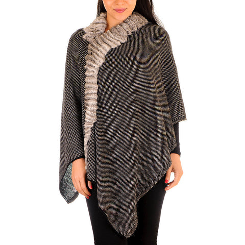 Black and Grey Cashmere and Fur Poncho