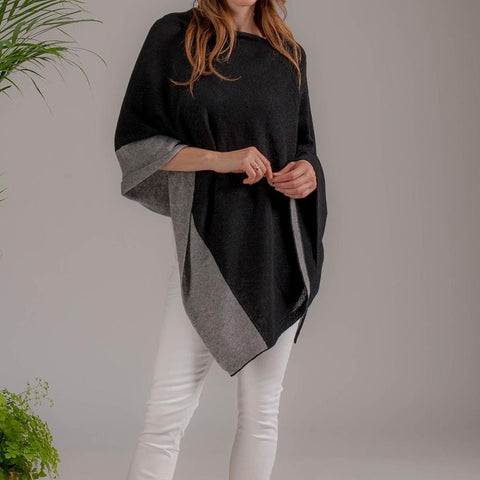 Black and Grey Bordered Cashmere Poncho