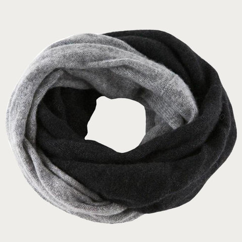 Black and Warm Grey Cashmere Snood