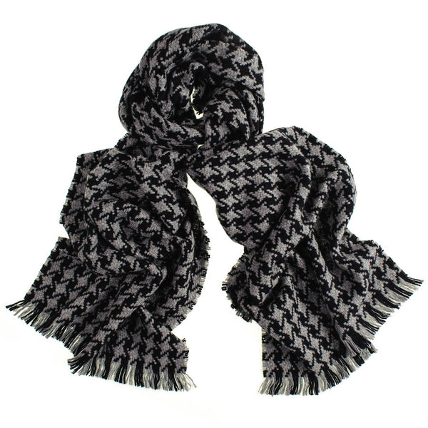 Black and Grey Houndstooth Cashmere Scarf