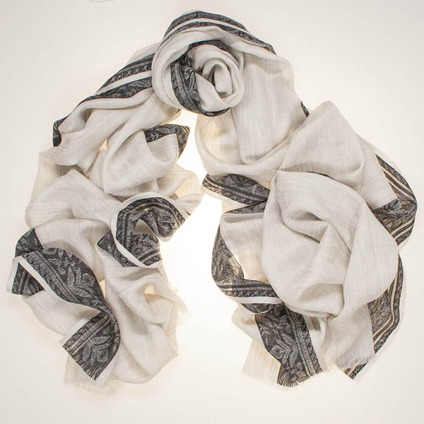 Black and Grey Jacquard Silk and Wool Scarf