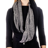 Black and Grey Melange Double Sided Cashmere Snood