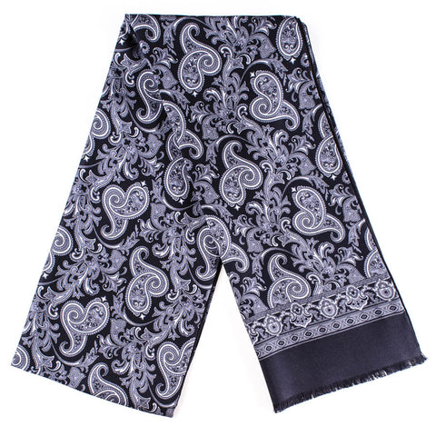 Nera Black and Grey Paisley Silk Scarf