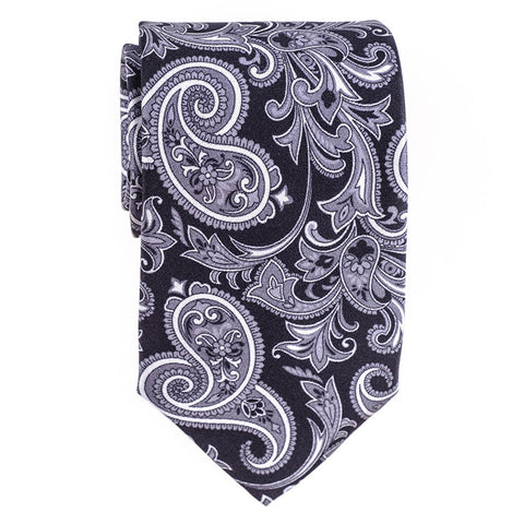 Nera Black and Grey Paisley Silk Tie