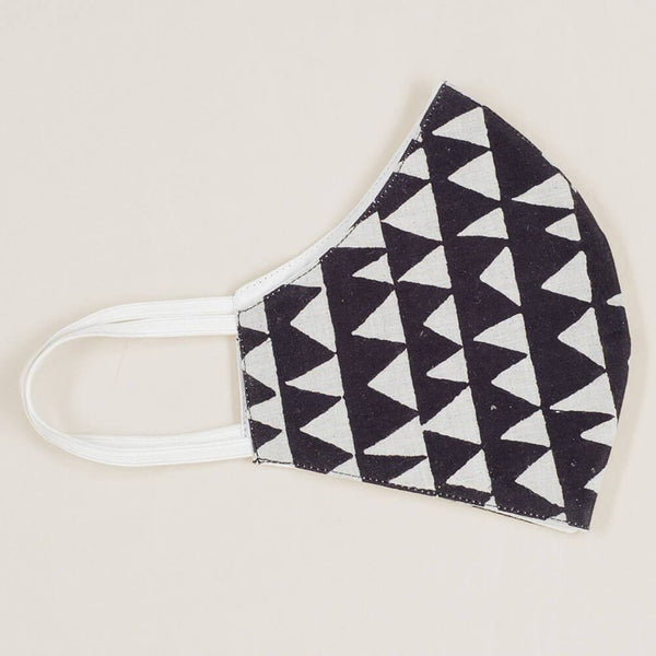 Geometric Black and Silver Grey Organic Cotton Face Mask