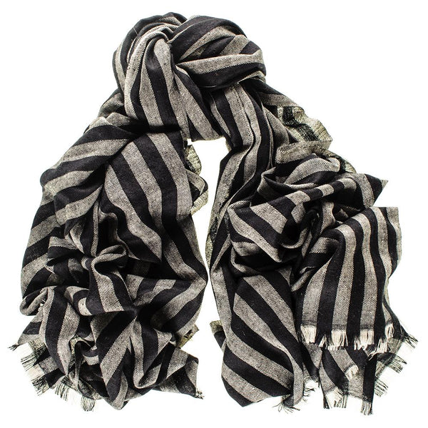 Black and Grey Striped Cashmere Ring Shawl