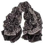 Hand Embroidered Black and White Cashmere Ring Shawl