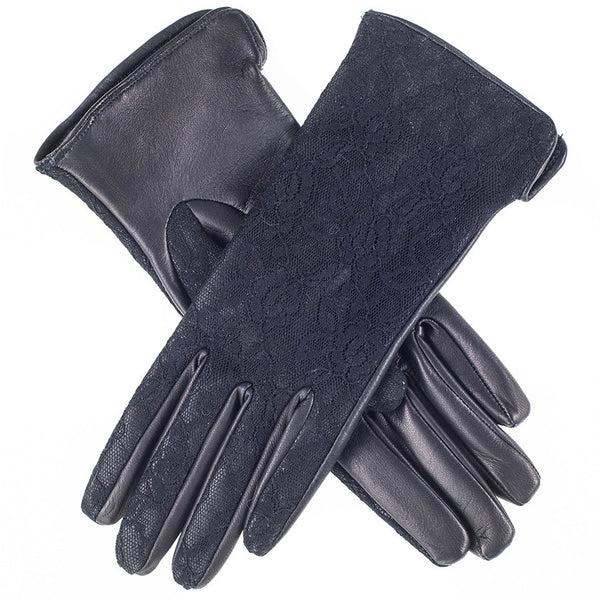Black Leather and Lace Silk Lined Leather Gloves