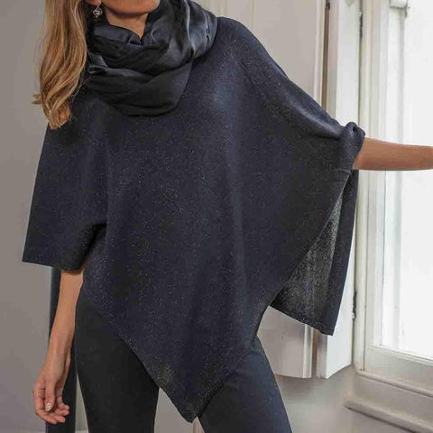Black and Silver Lame Cashmere Poncho