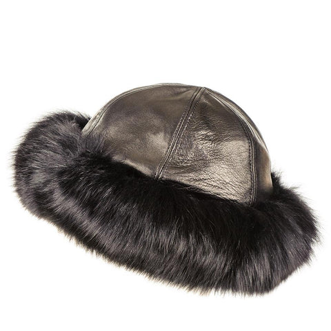 Black Leather and Fur Hat