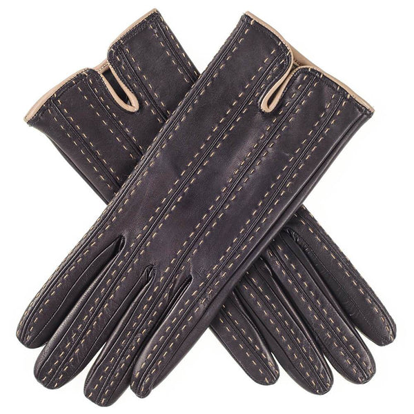 Ladies Black and Taupe Cashmere Lined Leather Gloves