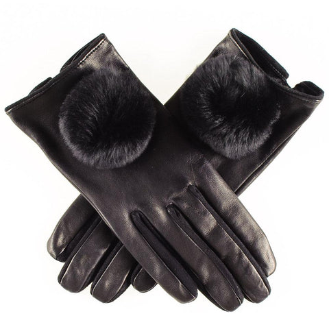 Black Leather and Suede Gloves with Fur Pom Poms